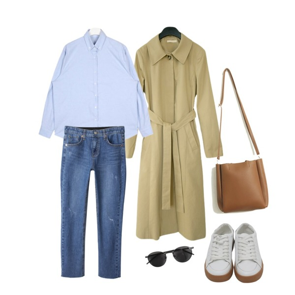 AIN oxford daily color shirts,BACHO 얼로우 일자핏 데님팬츠,AFTERMONDAY standard fit hidden button coat등을 매치한 코디