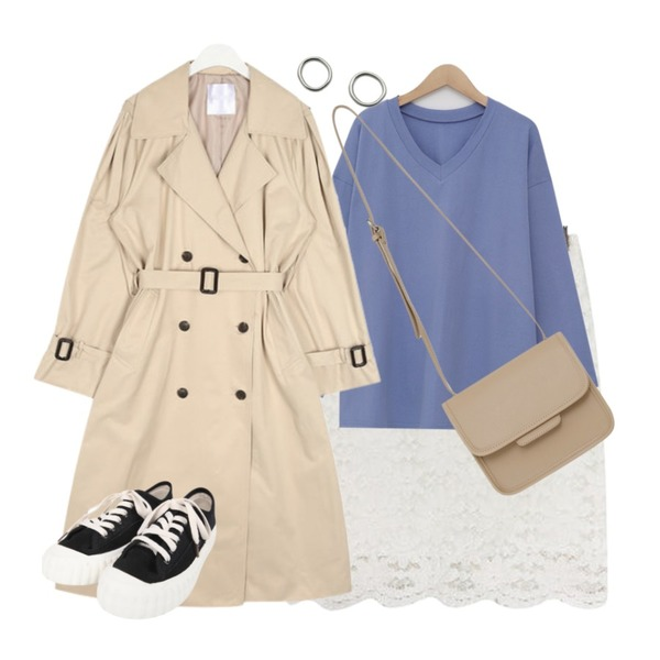 AIN rose cape trench coat,acomma 플린 플라워 레이스 - sk (3COLOR),From Beginning With boxy v-neck T_K (size : free)등을 매치한 코디
