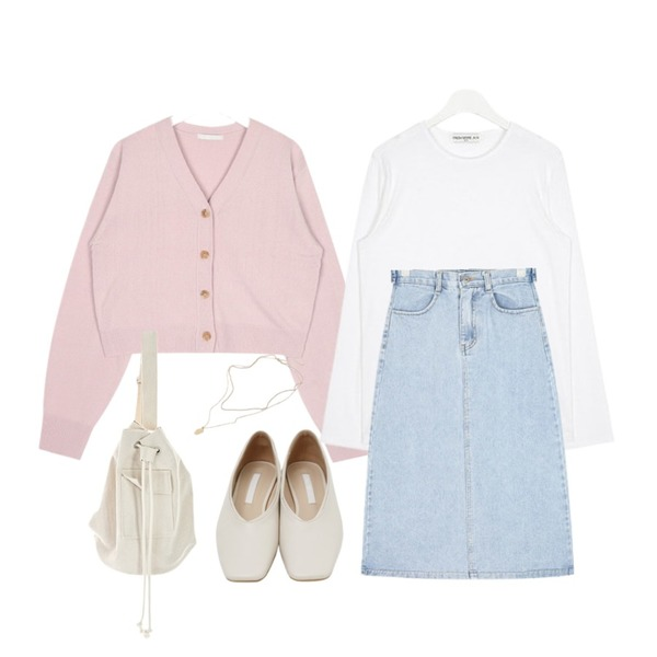AIN FRESH A soft round T,From Beginning Sharp square flat shoes_K (size : 230,235,240,245,250),AIN drink short cardigan등을 매치한 코디