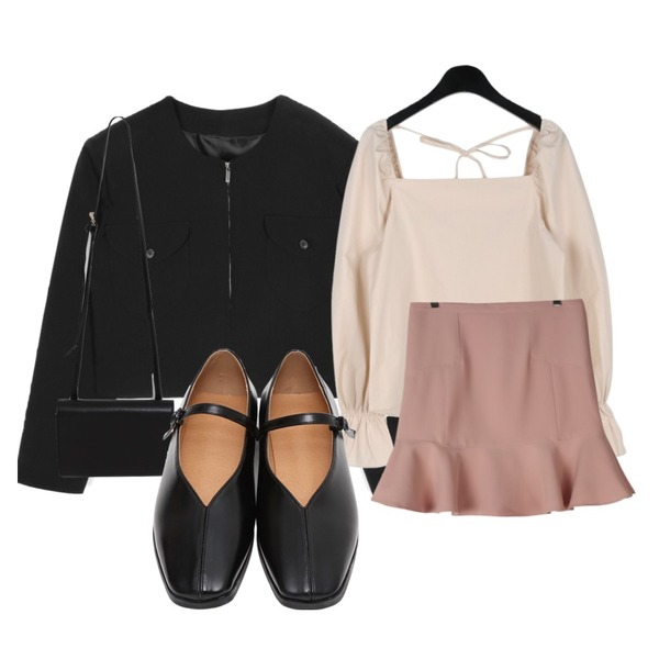 GIRLS RULE 모나 튤립 인어스커트 (sk1711),daily monday Puff square neck blouse,openthedoor over shoulder collarless crop jacket (2 color) - woman등을 매치한 코디