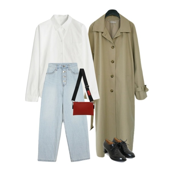 AFTERMONDAY classic middle hill loafer(2colors),AFTERMONDAY simple daily trench coat (2colors),GIRLS RULE 허니 솔리드 셔츠 (nb730)등을 매치한 코디