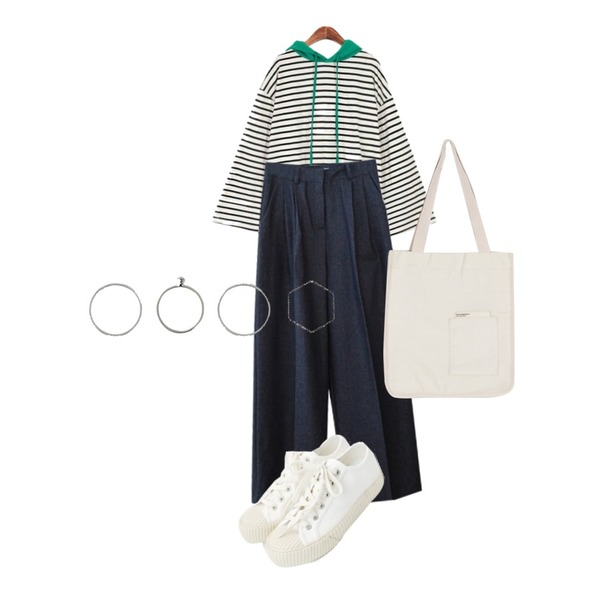 daily monday Simple every day sneakers,AFTERMONDAY pintuck detail wide denim (2colors),ROCOSIX 레미노 단가라 후드등을 매치한 코디