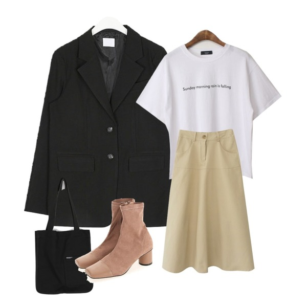 AFTERMONDAY daily long flare skirt (3colors),BACHO 리시브 레터링 반팔티셔츠,AIN we line simply jacket등을 매치한 코디
