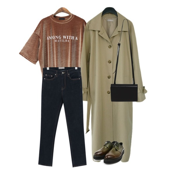 AFTERMONDAY simple daily trench coat (2colors),BACHO 마틸다 벨벳 박시 티셔츠,From Beginning Deep color semi skinny_M (size : S,M)등을 매치한 코디
