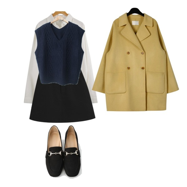 daily monday Handmade double button coat,WHOSGIRL 베이직 셔츠 (2 colors),TODAY ME 아모르 치마등을 매치한 코디