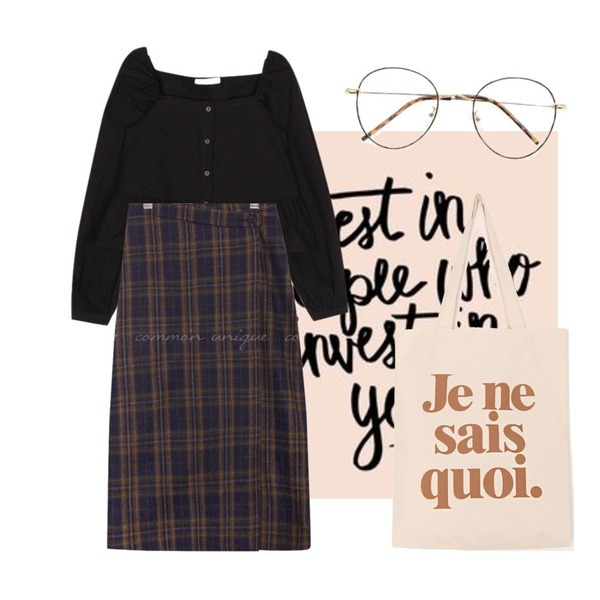 writing,common unique AMONG WOOL CHECK WRAP LONG SKIRT,AIN april square frill blouse등을 매치한 코디