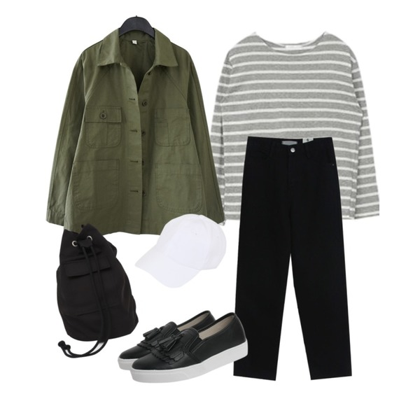 MIXXMIX Daily Striped Top,AFTERMONDAY work wear mood jacket (2colors),TODAY ME 도리 데님 팬츠등을 매치한 코디