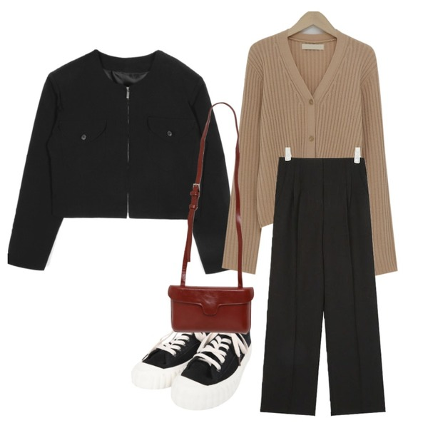 From Beginning Berry golgi knit cardigan_M (size : free),AIN holic pintuck long slacks (s, m),openthedoor over shoulder collarless crop jacket (2 color) - woman등을 매치한 코디