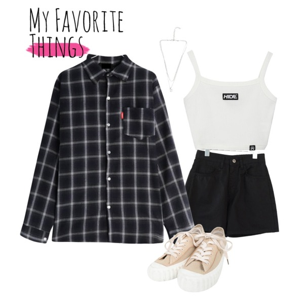 AFTERMONDAY comfy mood short pants (3colors),GIRLS RULE 다니 체크 남방 (nb785),MIXXMIX HIDE Logo Sleeveless Top등을 매치한 코디