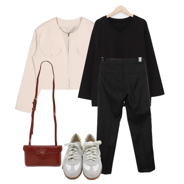 BULLANG GIRL 드롭블랙슬랙스P,openthedoor over shoulder collarless crop jacket (2 color) - woman,From Beginning With boxy v-neck T_K (size : free)등을 매치한 코디