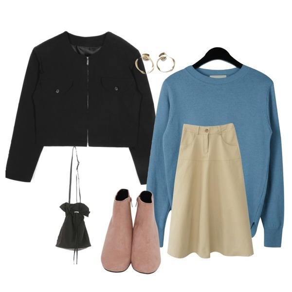 daily monday Spring basic wool knit,AFTERMONDAY daily long flare skirt (3colors),openthedoor over shoulder collarless crop jacket (2 color) - woman등을 매치한 코디