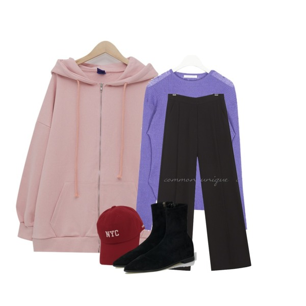 common unique ROAD PINTUCK WIDE LONG SLACKS,AIN minute see through knit,From Beginning Simple boxy hood zip-up_K (size : free)등을 매치한 코디