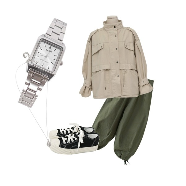 daily monday Simple every day sneakers,From Beginning Snap strap safari jacket_M (size : free),AFTERMONDAY string line detail pants (3colors)등을 매치한 코디