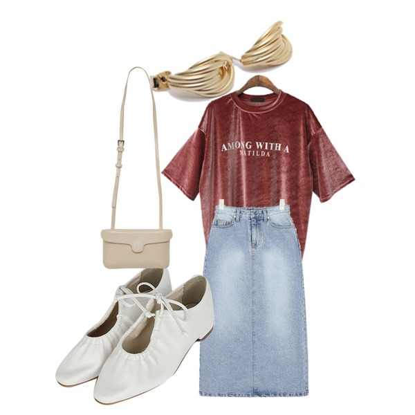 BACHO 마틸다 벨벳 박시 티셔츠,somedayif tighten up flat shoes (2colors),AIN little denim long skirt (s, m)등을 매치한 코디