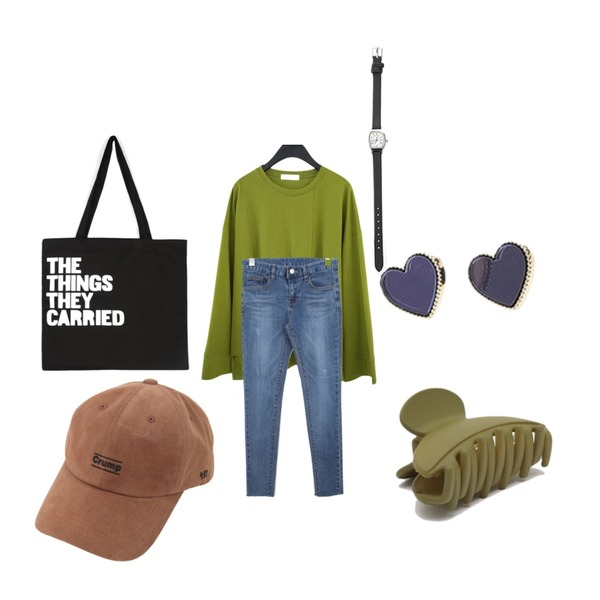 From Beginning Sand hair clips_J (size : one),BULLANG GIRL 피크닉데님P,AFTERMONDAY unbalance slit cutting tee (4colors)등을 매치한 코디