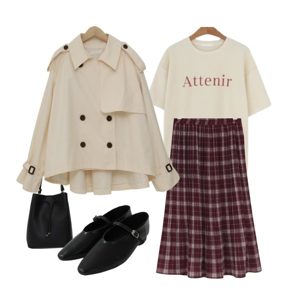 From Beginning Cereal check pleats skirt_Y (size : free)[와인 : 02월 28일 입고 후 순차적배송],LOVELY SHOES 테르아 반팔 티셔츠,From Beginning Bezons cross luckybag_Y (size : one)등을 매치한 코디