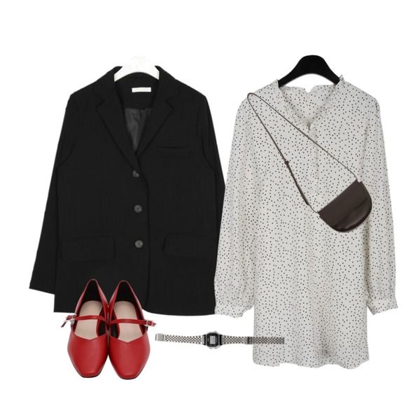 From Beginning Lou mary janes shoes_K (size : 225,230,235,240,245,250),daily monday Maybe dot mini dress,AIN thing loose fit jacket등을 매치한 코디