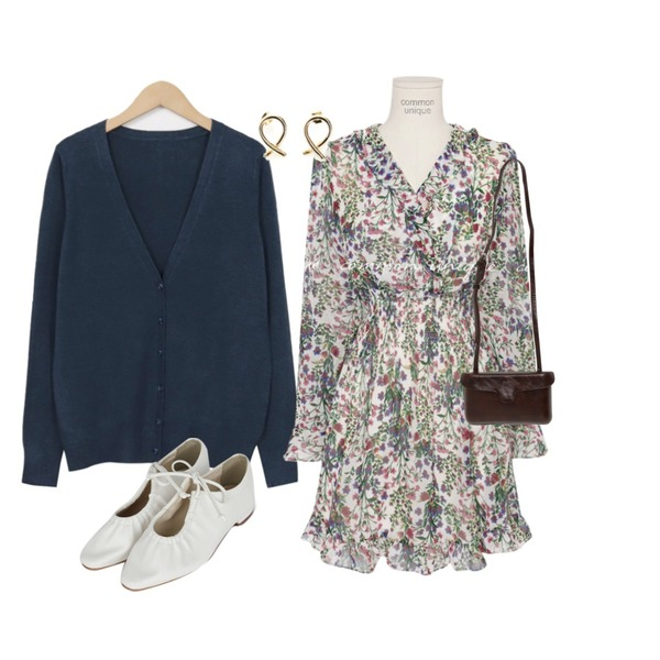 common unique REDO FLORAL SMOKE BANDING MINI OPS,From Beginning Brahms v-neck cardigan_K (size : free),somedayif tighten up flat shoes (2colors)등을 매치한 코디