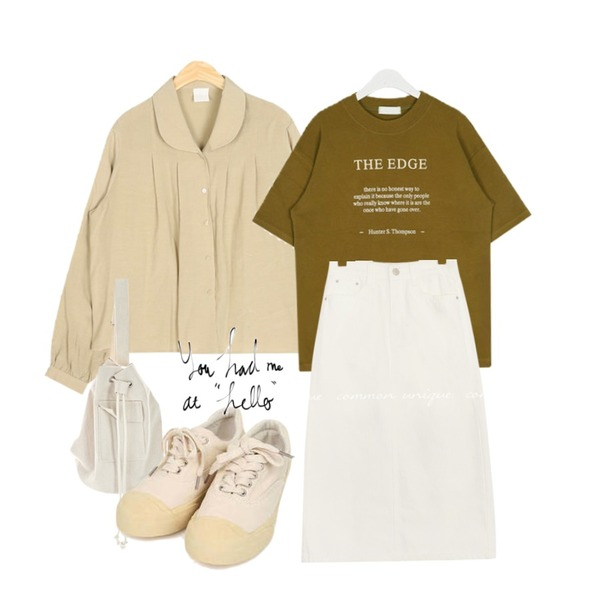 AIN rund collar blouse,AIN edge boxy cotton T,ROCOSIX 어겐 크로스 백등을 매치한 코디