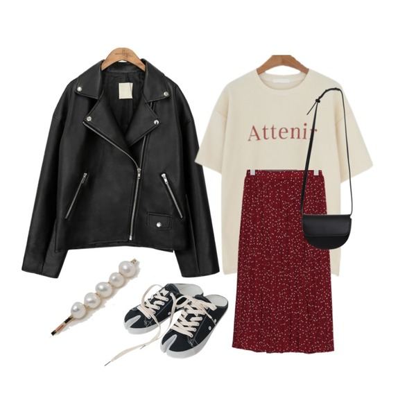 common unique [OUTER] BLACK PLAT RIDER JACKET,From Beginning Zart dot pleats skirt_S (size : free),LOVELY SHOES 테르아 반팔 티셔츠등을 매치한 코디