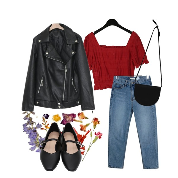 dry flowers,daily monday Sensual frill blouse,daily monday Ankle cropped slim denim등을 매치한 코디