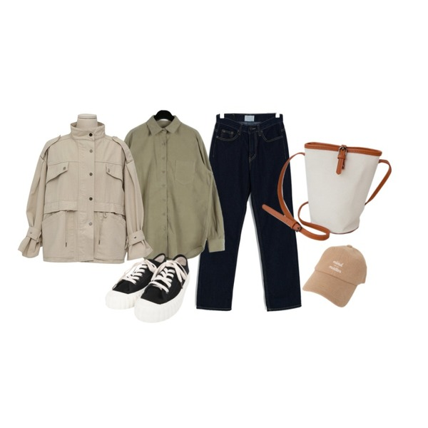 BANHARU straight fit stitch denim pants,daily monday Boxy corduroy shirts,From Beginning Snap strap safari jacket_M (size : free)등을 매치한 코디