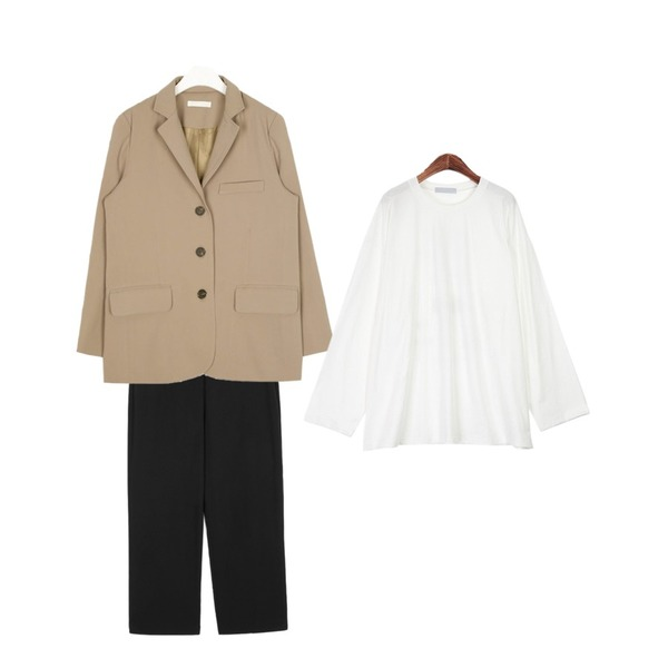 openthedoor wearable wide slacks (2 color) - men,AIN thing loose fit jacket,ROCOSIX 니링 레터링 티셔츠등을 매치한 코디