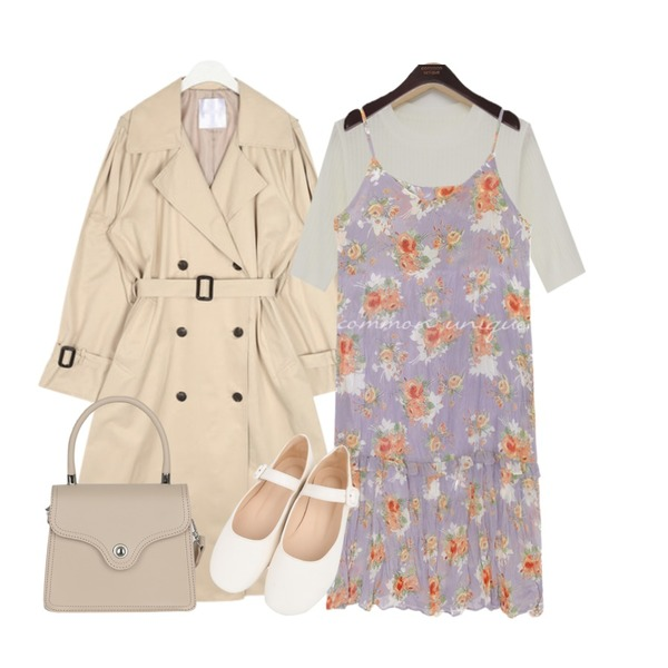 From Beginning Fresh golgi half knit_K (size : free),AIN rose cape trench coat,common unique [OPS] SERA FLOWER WRINKLE BUSTIER OPS등을 매치한 코디