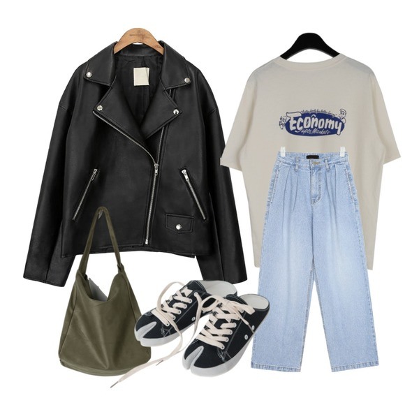 common unique [OUTER] BLACK PLAT RIDER JACKET,AIN snuper pintuck wide pants (s, m, l),daily monday Economy printing t-shirt등을 매치한 코디