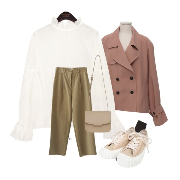 AFTERMONDAY cotton banding daily pants (3colors),common unique FIND FRILL SEETHROUGH BLOUSE,From Beginning Made_outer-132_half trench jacket_S (size : free)등을 매치한 코디