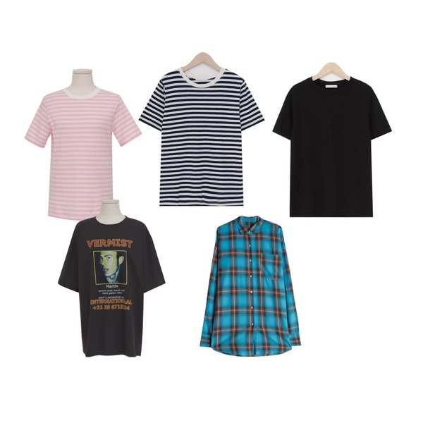 From Beginning Basic color cotton T_K (size : free),From Beginning Kitsch stripe T_K (size : free),From Beginning Kitsch stripe T_K (size : free)등을 매치한 코디