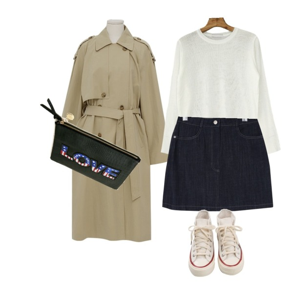 From Beginning Latte double trench coat_K (size : free),daily monday Mac cotton mini skirt,Zemma World [1+1 구매시 무배♥]기획특가/ 후르츠컬러 베이직 니트등을 매치한 코디