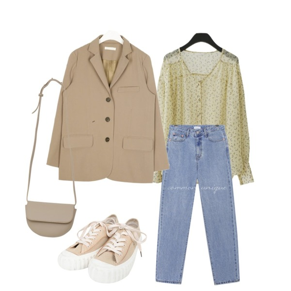 common unique [BOTTOM] CONNECT SEMI BAGGY DENIM PANTS,AFTERMONDAY see-through flower blouse (3colors),AIN thing loose fit jacket등을 매치한 코디