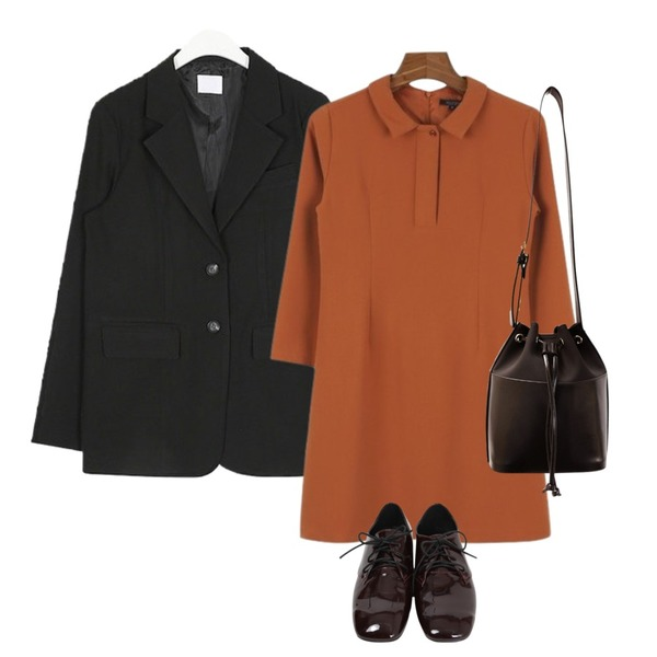 daily monday Daily mini shirts one piece,From Beginning Gloss square enamel loafer_H (size : 225,230,235,240,245,250),AIN we line simply jacket등을 매치한 코디