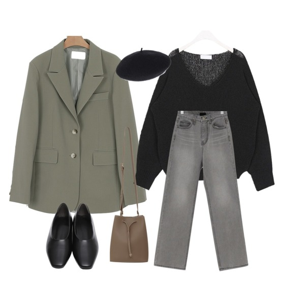 From Beginning Connect semi wide denim_S (size : S,M),somedayif mood over fit jacket (2colors),AIN page natural v-neck knit등을 매치한 코디