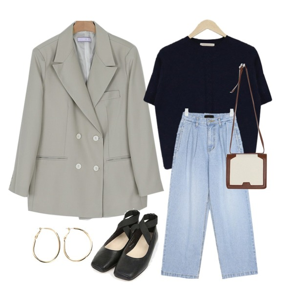 acomma 에덴 반팔 울 - nt (4COLOR),AIN snuper pintuck wide pants (s, m, l),somedayif know double over fit jacket (2colors)등을 매치한 코디