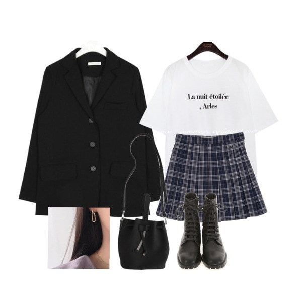 common unique ARLES LETTERING 1/2 T,openthedoor check mini tennis skirt (3 color) - woman,AIN thing loose fit jacket등을 매치한 코디