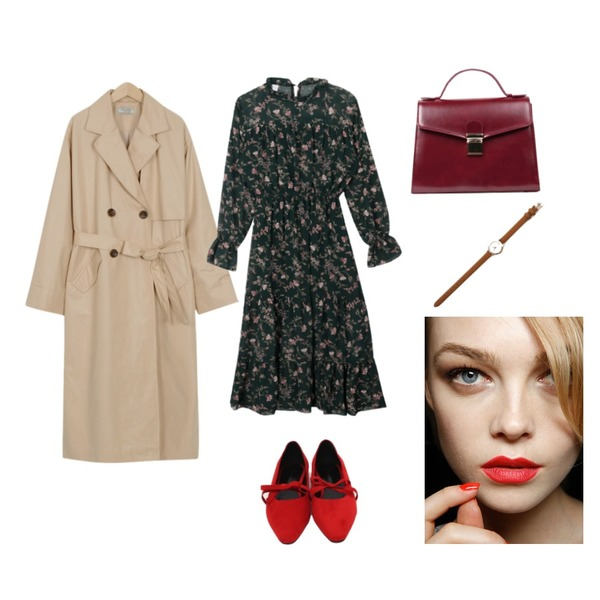 From Beginning Made_outer-089_coating trench coat (size : free),From Beginning Petit ribbon stiletto shoes_Y (size : 225,230,235,240,245,250),MIXXMIX 샤샤 플라워 원피스등을 매치한 코디