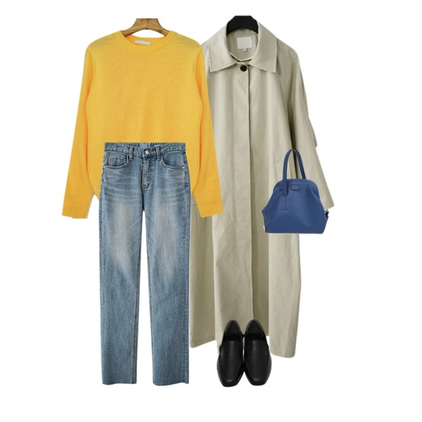 AFTERMONDAY flap detail trench coat (2colors),AFTERMONDAY straight light washing denim,Zemma World [1+1 구매시 무배♥]기획특가/ 후르츠컬러 베이직 니트등을 매치한 코디