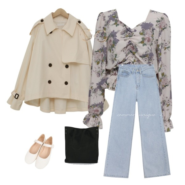 common unique [BOTTOM] CLUE STRAIGHT WIDE DENIM PANTS,From Beginning Tom cotton half trench_S (size : free),From Beginning Shirring crop floral blouse_S (size : free)등을 매치한 코디