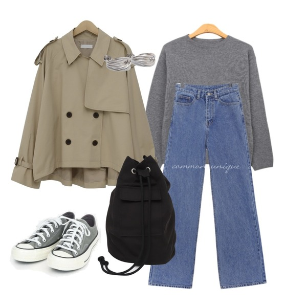 BULLANG GIRL 포들라운드니트(울60%),common unique [BOTTOM] CLUE STRAIGHT WIDE DENIM PANTS,From Beginning Tom cotton half trench_S (size : free)등을 매치한 코디