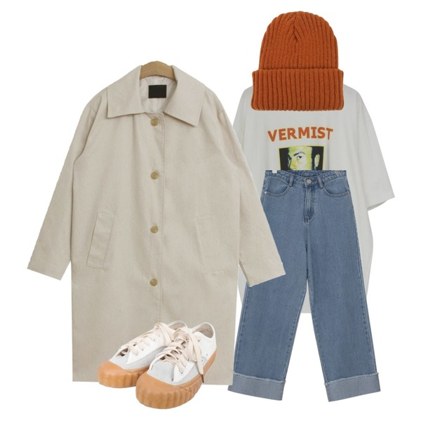 From Beginning Martin vintage boxy T_J (size : free),From Beginning Roll-up wide washing denim_S (size : S,M,L),TODAY ME 세츠 트렌치 코트등을 매치한 코디