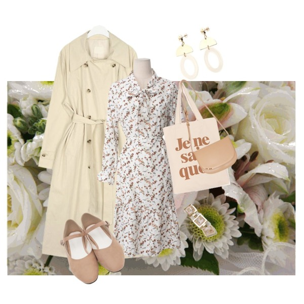 Untitled,AIN smooth cotton double trench coat,AFTERMONDAY gorgeous mood earrings등을 매치한 코디