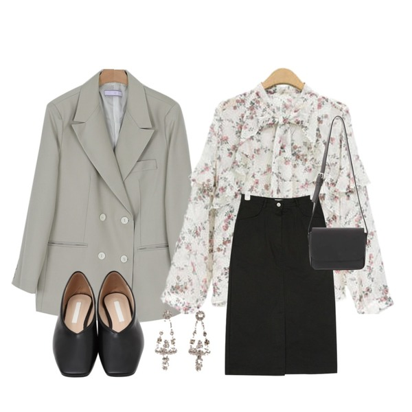 AIN mine H-line cotton skirt (s, m),somedayif know double over fit jacket (2colors),NEW NEED NOW 이츠 플라워 블라우스(2color)등을 매치한 코디