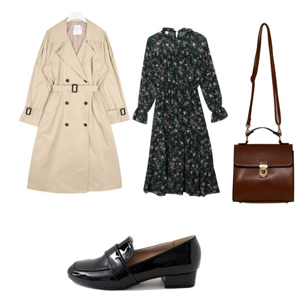 From Beginning Glossy square hand bag_B (size : one),AIN rose cape trench coat,MIXXMIX 샤샤 플라워 원피스등을 매치한 코디