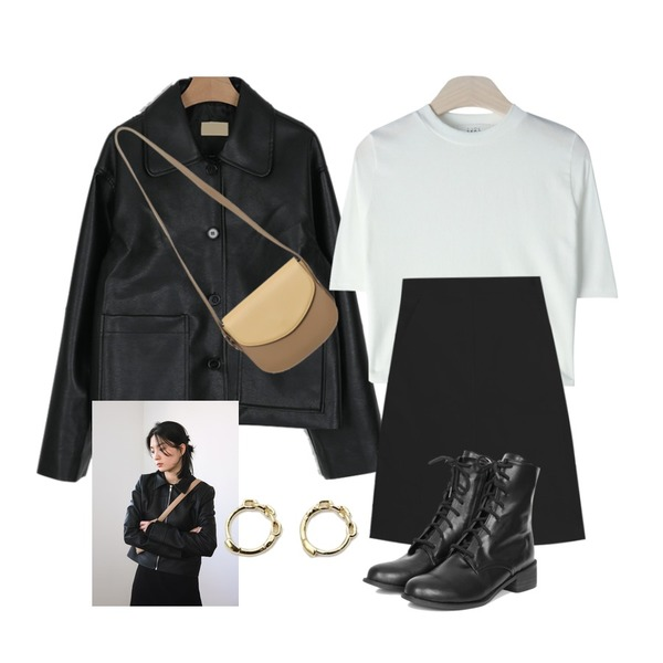 From Beginning Hershey coloring bag_M (size : one),somedayif clean single standard leather jacket (2colors),GIRLS RULE 캐시 크롭 반팔 티셔츠 (t6027)등을 매치한 코디