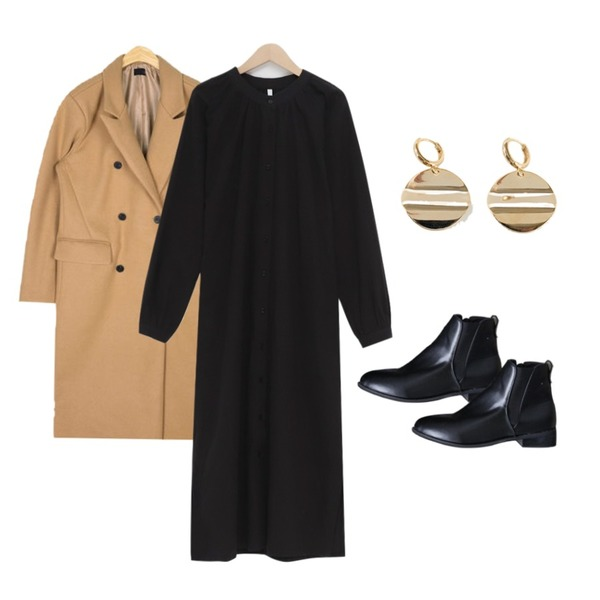 ENVYLOOK 롬보잇워커,AIN mild mood double coat,From Beginning Daily strap shirts ops_M (size : free)등을 매치한 코디