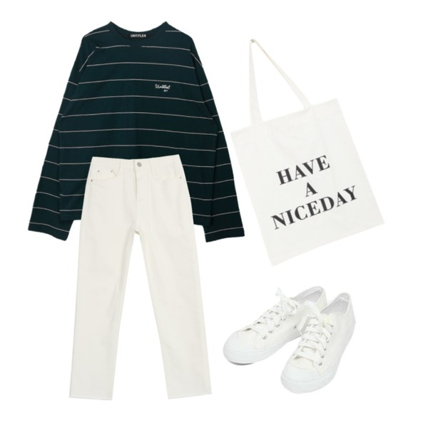 AIN basic monday sneakers (230-250),AWAB 엘트데일리면팬츠,MIXXMIX Wide Stripe Point Top등을 매치한 코디