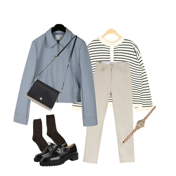 AIN henley neck stripe knit,acomma 그룸 코튼 일자핏 - pt (3COLOR),daily monday Clear modern leather jacket등을 매치한 코디
