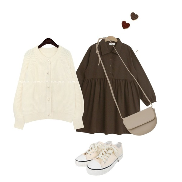 common unique LOVES PEARL PUFF KNIT CARDIGAN,BULLANG GIRL 브리치스니커즈,TODAY ME 캐치미 원피스등을 매치한 코디